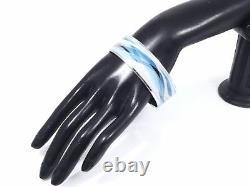 100% Authentic Hermes Cloisonne Bangle Bracelet Enamel Blue SHW A1410