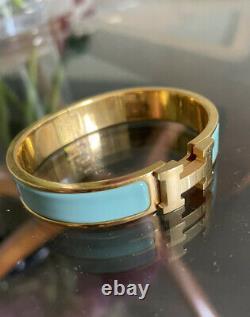 1000% AUTH Hermes Clic Clac Gold Lagoon PM Tiffany Blue-Green, Gorgeous Enamel