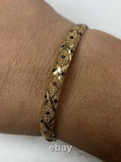 14K Yellow Gold BANGLE Bracelet Blue Green Red Enamel Drops 1/4 8.8g