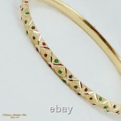 14K Yellow Gold Textured 5MM Bangle Bracelet Blue Red Enamel Dots (B24 35 75)