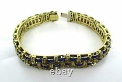 14kt Solid Yellow Gold Blue Enamel Basket Weave Bracelet 014163007
