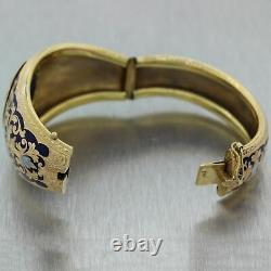 1880's Antique Victorian 18k Yellow Gold Blue Enamel 0.25ctw Diamond Bracelet