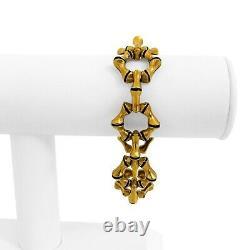 18k Yellow Gold and Blue Enamel 47g UnoAErre Bamboo Link Bracelet Italy 7.25