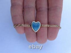 1900 14K Gold Blue White Enamel Guilloche Heart Photo Locket Childs Bracelet