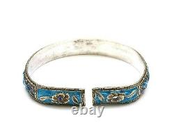 1930's Chinese Solid Silver Enamel Bangle Bracelet Cuff Flower Marked