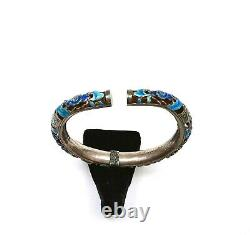 1930's Chinese Solid Silver Enamel Reticulated Pierce Flower Bracelet Bangle Mk
