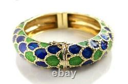 1960s Tiffany & Co Blue Green Enamel Bangle Bracelet