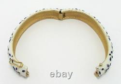 1967 Trifari Pet Series Blue White Enamel Hinged Bangle Bracelet