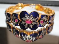 2.40cts ROSE CUT DIAMOND RUBY BLUE ENAMEL VICTORIAN 925 SILVER BANGLE BRACELET