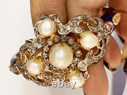 4.46ct ROSE CUT DIAMOND PEARL BLUE ENAMEL VICTORIAN LOOK 925 SILVER BRACELET