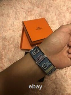 $610Retailed Hermès Bangle Enamel Bracelet/Blue/belt Print