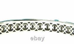 925 Silver Cluster Turquoise Blue White Enamel&white Cz Bangle Size 7, $$537