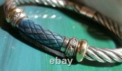 ALS 18k yellow gold-Sterling silver blue enamel diamond bangle cable bracelet