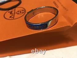 AUTHENTIC HERMÈS BRACELET/ Bangle, clic clac, silver tone /enamel, blue/orange VGC