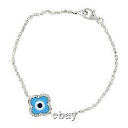 Aaron Basha 18ct White Gold Diamond & Light Blue Enamel Clover Evil Eye Bracelet