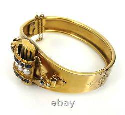 Antique 1.50ct Sapphire & Natural Pearl Blue Enamel 14K Yellow Gold Wide Bangle