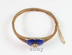 Antique 10K Gold Victorian Royal Blue Enamel Pearl Cluster Bangle Bracelet