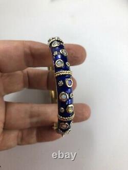 Antique 14 K Gold Cobalt Blue Enamel Opals Diamonds jacqueline kennedy Bracelet