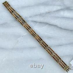 Antique 18K Yellow Gold Blue Turquoise & Cobalt Enamel Antique Bracelet 7
