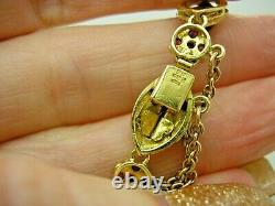 Antique 18ct Gold Real Ruby Blue Enamel Bracelet 23.8 gms