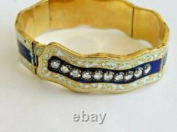 Antique 18k Gold 1880's Appr. 1.10 Ct Rough Cut Diamonds & Blue Enamel Bracelet