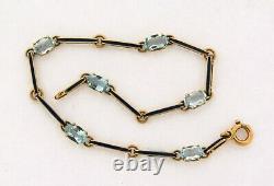 Antique Art Nouveau Aquamarine Blue Enamel 18K Yellow Gold Link Bracelet