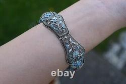 Antique Big Chinese filigree enamel rose quartz bracelet Sterling silver 47g