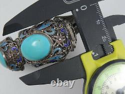 Antique Chinese Export Chunky Turquoise Enamel Filigree Panel Bracelet 6.75