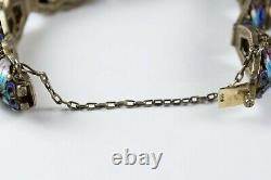 Antique Chinese Export Silver Filigree Bracelet Enamel Butterflies & Tiger's Eye
