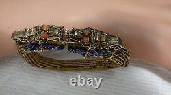 Antique Chinese Silver Enamel Horned Dragon Mesh Bracelet 8 Blue Enamel