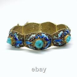 Antique Chinese silver gilt, enamel and turquoise bracelet
