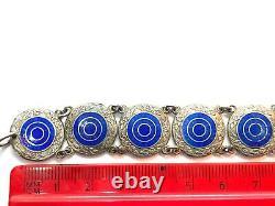 Antique Edwardian Sterling Silver Blue Guiloche Enamel Panel Bracelet 16.1 gr