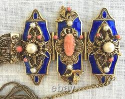 Antique Edwarian Bracelet, Blue Enamel on Brass, with Pearls, Coral Cameo & Beads