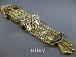 Antique Large Aaa Blue Enamel 14kt Yellow Gold 3d Classic Tassel Bracelet #2169