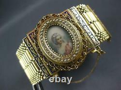 Antique Large Victorian Aaa Pearl & Blue Enamel 14k Yellow Gold Bracelet Pendant