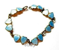 Antique Norway Sterling Silver Double Heart Baby Blue Enamel Bracelet Gilt #MB31