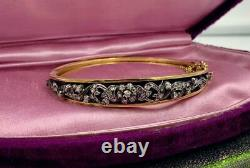 Antique Rose Cut Diamond Bangle Bracelet Blue Enamel Belle Epoque 18 Karat Gold