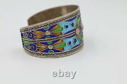 Antique Silver pair Bracelet Moroccan Berber Cobalt Blue Enamel Ethnic Tribal
