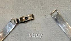 Antique Sterling Silver & Blue Guilloche Enamel Bracelet
