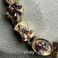 Antique Victorian 14K 10K Yellow Gold Guilloche Enamel Garnet Slide Bracelet 7