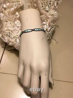 Antique Victorian Aqua Blue Guilloche Enamel Sterling Silver Petite Bracelet