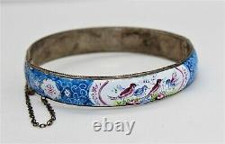 Antique Victorian Blue Enameled Bird Hinged Sterling Bracelet