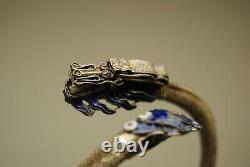 Antique Vintage Chinese 800 Silver Mesh Blue Enamel Dragon Snake Bracelet Asian