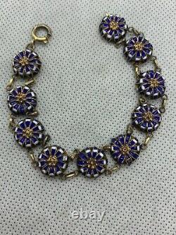 Antique Vintage Victorian French Blue and White Enamelled Bracelet