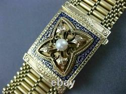 Antique Wide Blue Enamel & Pearl 14kt Yellow Gold Bracelet Filigree Tassel #666