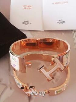 Auth HERMES Clic Clac Cuff Bracelets Rose Gold Pink Enamel LTD ED Bangles NEW