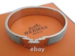 Auth HERMES Clic Clac H Bangle Bracelet Blue/Silvertone Enamel/Metal e48107f
