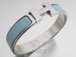 Auth HERMES Clic Clac H Bangle Bracelet Light Blue Silvertone/Enamel e46129e
