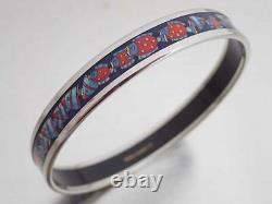 Auth HERMES Cloisonne Bangle Bracelet Blue/Silvertone Enamel/Metal MINT e48910a