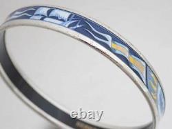 Auth HERMES Cloisonne Bangle Bracelet Blue/Silvertone Enamel/Metal e45223a